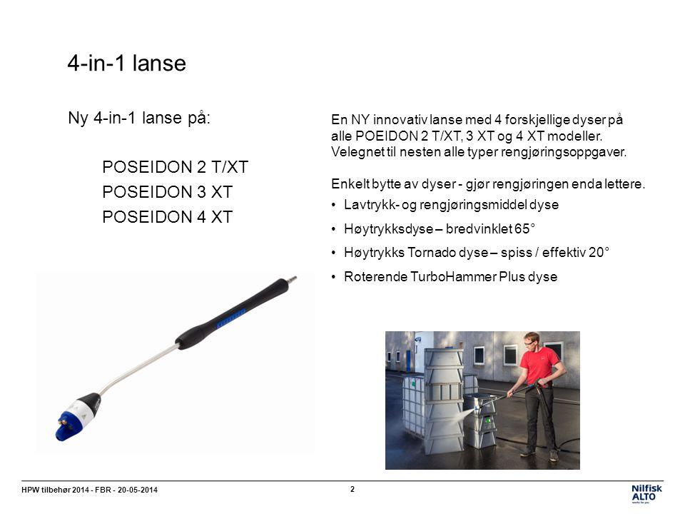 4-in-1 dyse HPW tilbehør 2014 - FBR - 20-05-2014 3 Enkelt å bytte mellom de 4 forskjellige dysene Lavtrykk- og rengjøringsmiddel dyse (1 dyse til begge funksjoner) Høytrykksdyse - bredvinklet 65° Høytrykk Tornado dyse 20° Roterende TurboHammer Plus dyse Ved å dreie den blå delen av dysehodet – enten til høyre eller venstre – skiftes det raskt og enkelt mellom dysens forskjellige funksjoner.