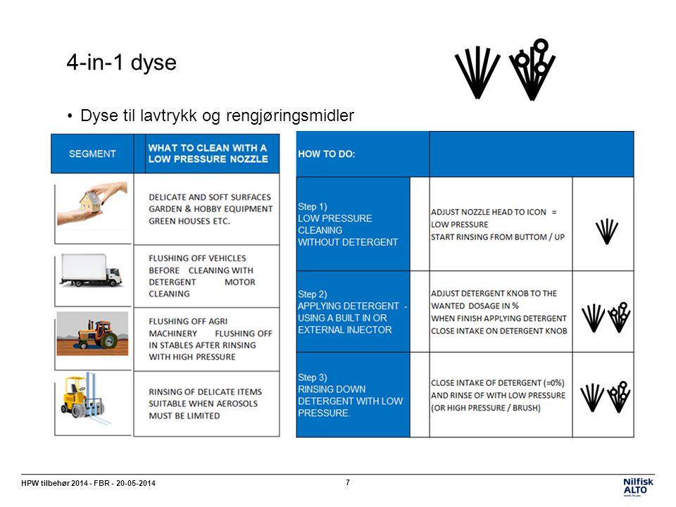 4-in-1 dyse HPW tilbehør 2014 - FBR - 20-05-2014 7 Dyse til lavtrykk og rengjøringsmidler