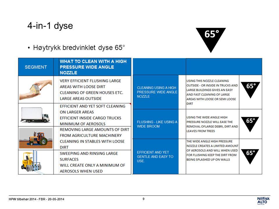 4-in-1 dyse HPW tilbehør 2014 - FBR - 20-05-2014 9 Høytrykk bredvinklet dyse 65°