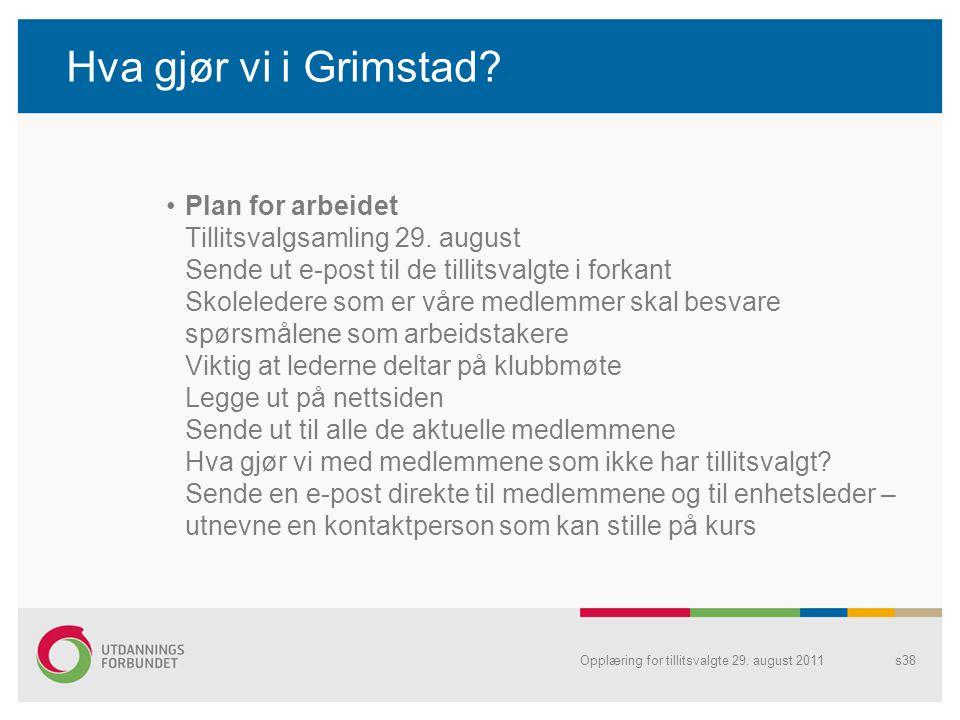Hva gjør vi i Grimstad.Plan for arbeidet Tillitsvalgsamling 29.