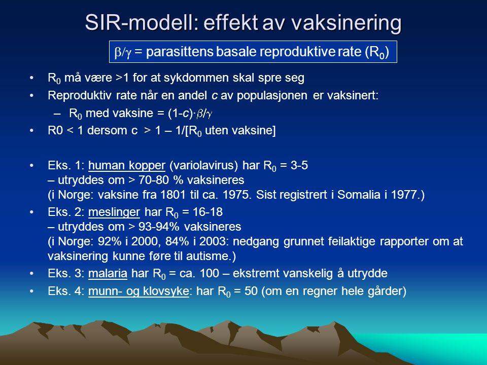 SIR-modell: effekt av vaksinering  = parasittens basale reproduktive rate (R 0 ) R 0 må være >1 for at sykdommen skal spre seg Reproduktiv rate når en andel c av populasjonen er vaksinert: –R 0 med vaksine = (1-c)∙  R0 1 – 1/[R 0 uten vaksine] Eks.