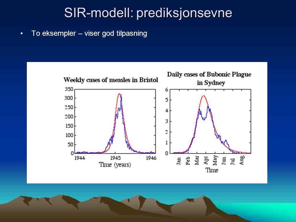 SIR-modell: prediksjonsevne To eksempler – viser god tilpasning