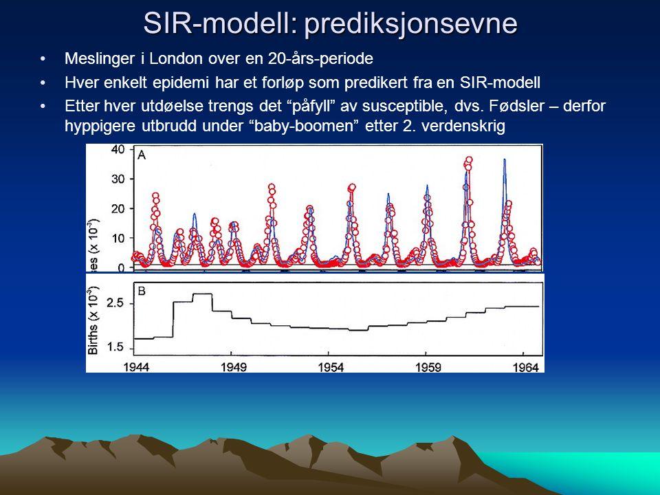SIR-modell: prediksjonsevne Meslinger i London over en 20-års-periode Hver enkelt epidemi har et forløp som predikert fra en SIR-modell Etter hver utdøelse trengs det påfyll av susceptible, dvs.