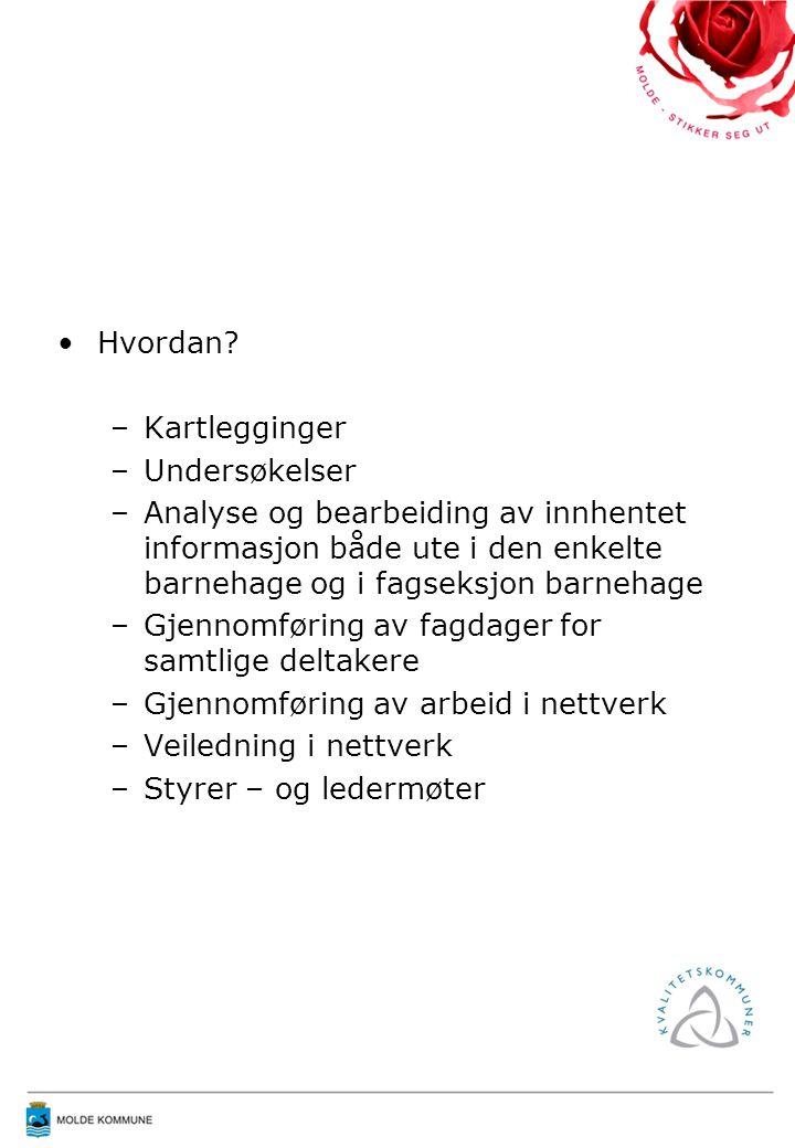 BARNEHAGER I MOLDE Det er 32 barnehager i Molde Barnehagene eies av 13 ulike eiere; kommunen eier og driver 14 barnehager Ca 1300 barn har barnehageplass – det er full barnehagedekning i kommunen Dekningsgrad –93,7 % for barn 1-5 år –99,5 % for barn 3-5 år –84,5 % for barn 1-2 år (Rev KOSTRA 2007 per 04.07.08)