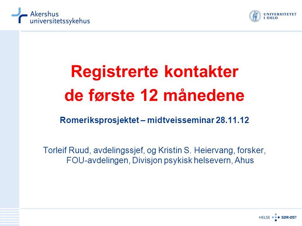 Registrerte kontakter de første 12 månedene Romeriksprosjektet – midtveisseminar 28.11.12 Torleif Ruud, avdelingssjef, og Kristin S.