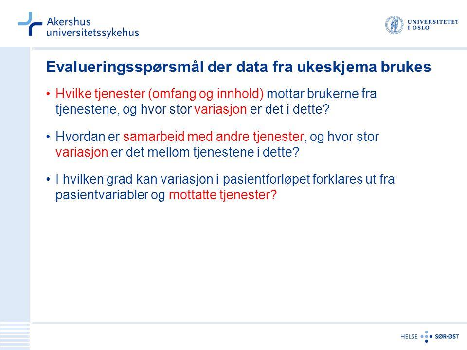 Evalueringsspørsmål der data fra ukeskjema brukes Hvilke tjenester (omfang og innhold) mottar brukerne fra tjenestene, og hvor stor variasjon er det i dette.