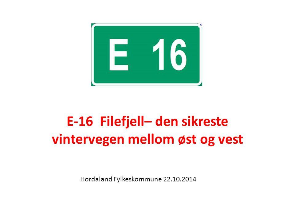 E-16 Filefjell– den sikreste vintervegen mellom øst og vest Hordaland Fylkeskommune 22.10.2014