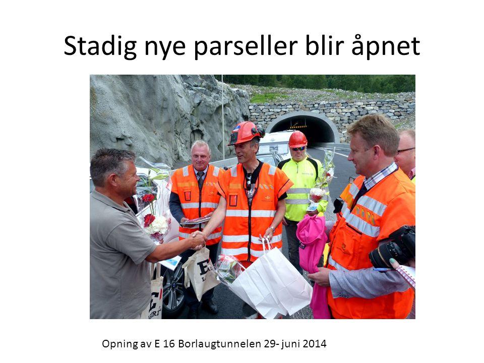 Stadig nye parseller blir åpnet Opning av E 16 Borlaugtunnelen 29- juni 2014