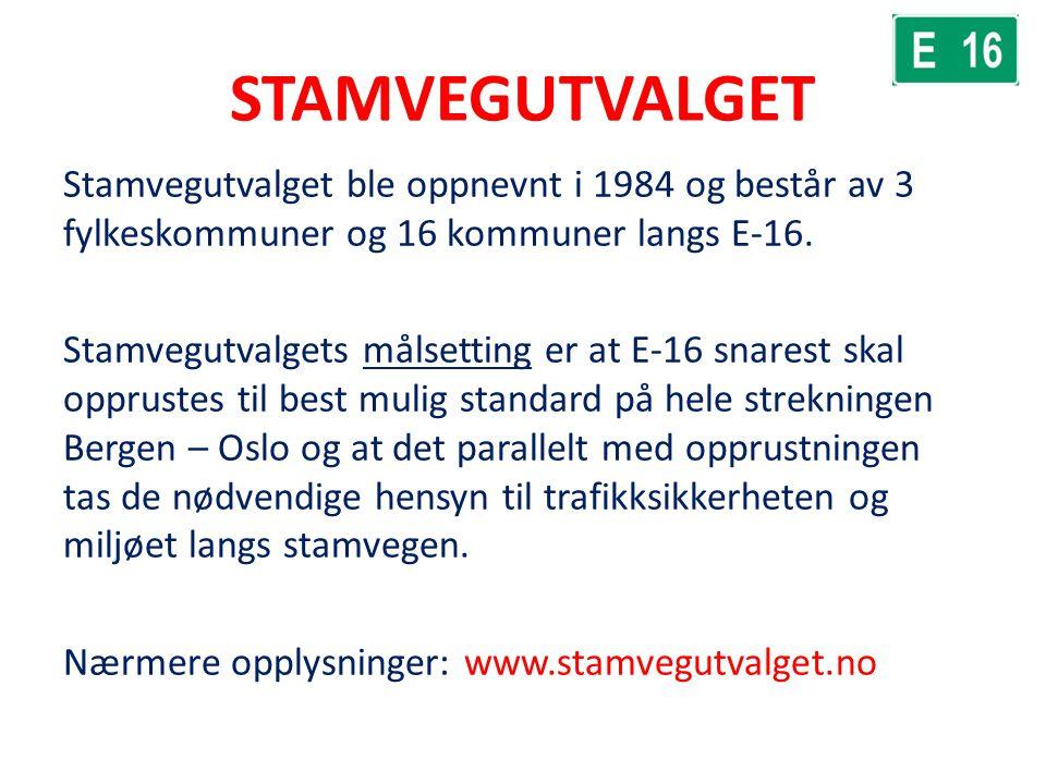STAMVEGUTVALGET Stamvegutvalget ble oppnevnt i 1984 og består av 3 fylkeskommuner og 16 kommuner langs E-16. Stamvegutvalgets målsetting er at E-16 sn