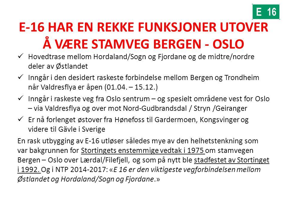E-16 HAR EN REKKE FUNKSJONER UTOVER Å VÆRE STAMVEG BERGEN - OSLO Hovedtrase mellom Hordaland/Sogn og Fjordane og de midtre/nordre deler av Østlandet I