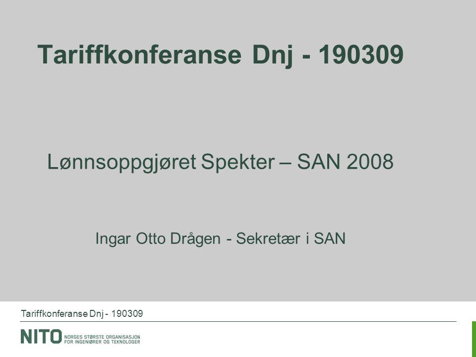 Tariffkonferanse Dnj - 190309 Lønnsoppgjøret Spekter – SAN 2008 Ingar Otto Drågen - Sekretær i SAN