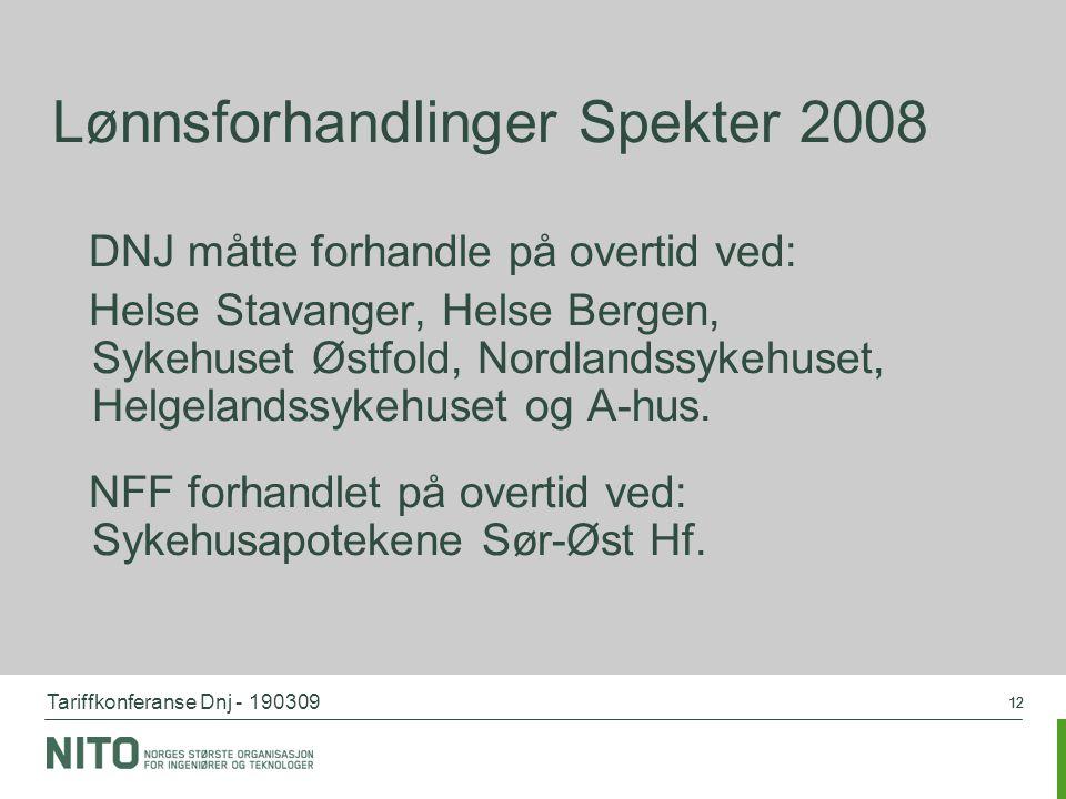 Tariffkonferanse Dnj - 190309 12 Lønnsforhandlinger Spekter 2008 DNJ måtte forhandle på overtid ved: Helse Stavanger, Helse Bergen, Sykehuset Østfold,