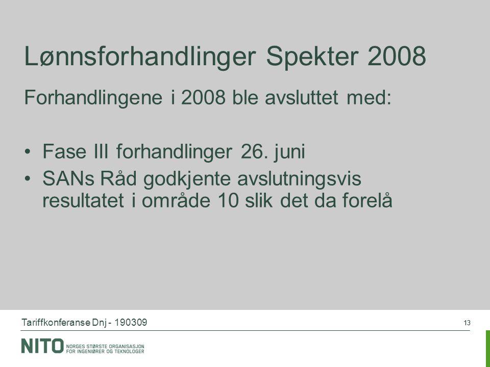 Tariffkonferanse Dnj - 190309 13 Lønnsforhandlinger Spekter 2008 Forhandlingene i 2008 ble avsluttet med: Fase III forhandlinger 26. juni SANs Råd god