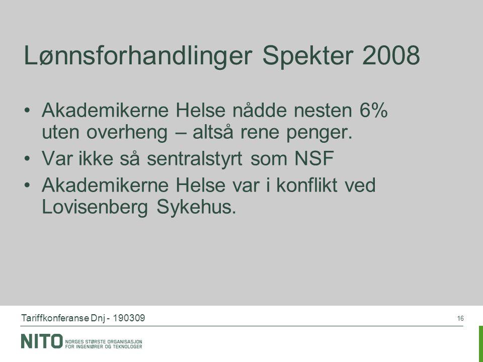 Tariffkonferanse Dnj - 190309 16 Lønnsforhandlinger Spekter 2008 Akademikerne Helse nådde nesten 6% uten overheng – altså rene penger. Var ikke så sen
