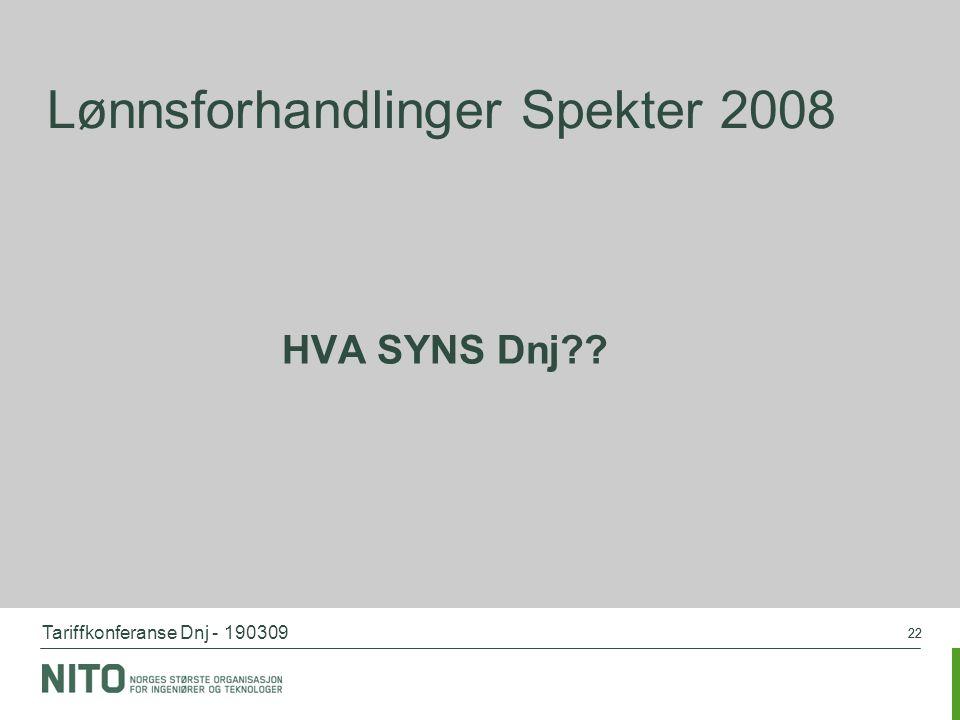Tariffkonferanse Dnj - 190309 22 Lønnsforhandlinger Spekter 2008 HVA SYNS Dnj??