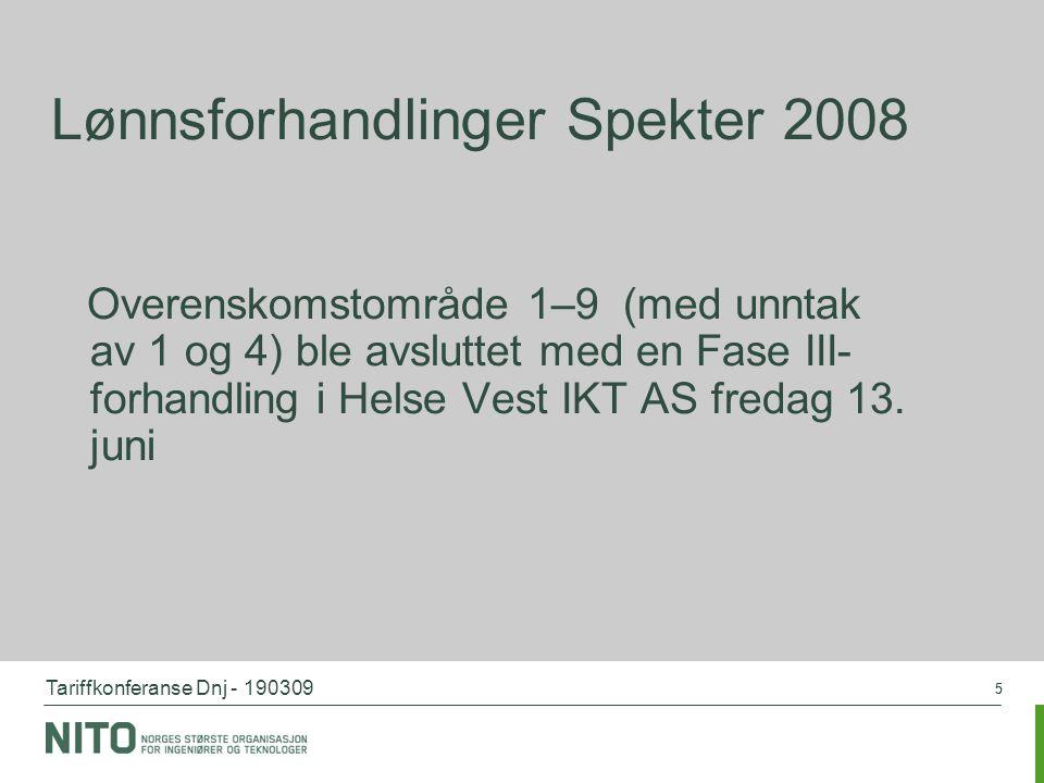 Tariffkonferanse Dnj - 190309 55 Lønnsforhandlinger Spekter 2008 Overenskomstområde 1–9 (med unntak av 1 og 4) ble avsluttet med en Fase III- forhandl