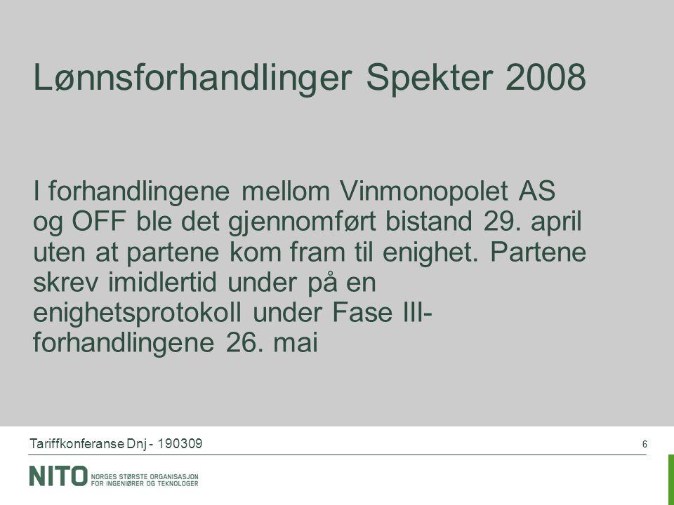 Tariffkonferanse Dnj - 190309 66 Lønnsforhandlinger Spekter 2008 I forhandlingene mellom Vinmonopolet AS og OFF ble det gjennomført bistand 29. april