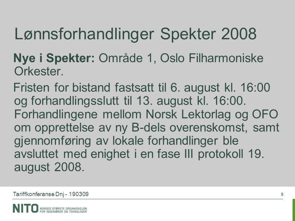 Tariffkonferanse Dnj - 190309 88 Lønnsforhandlinger Spekter 2008 Nye i Spekter: Område 1, Oslo Filharmoniske Orkester. Fristen for bistand fastsatt ti