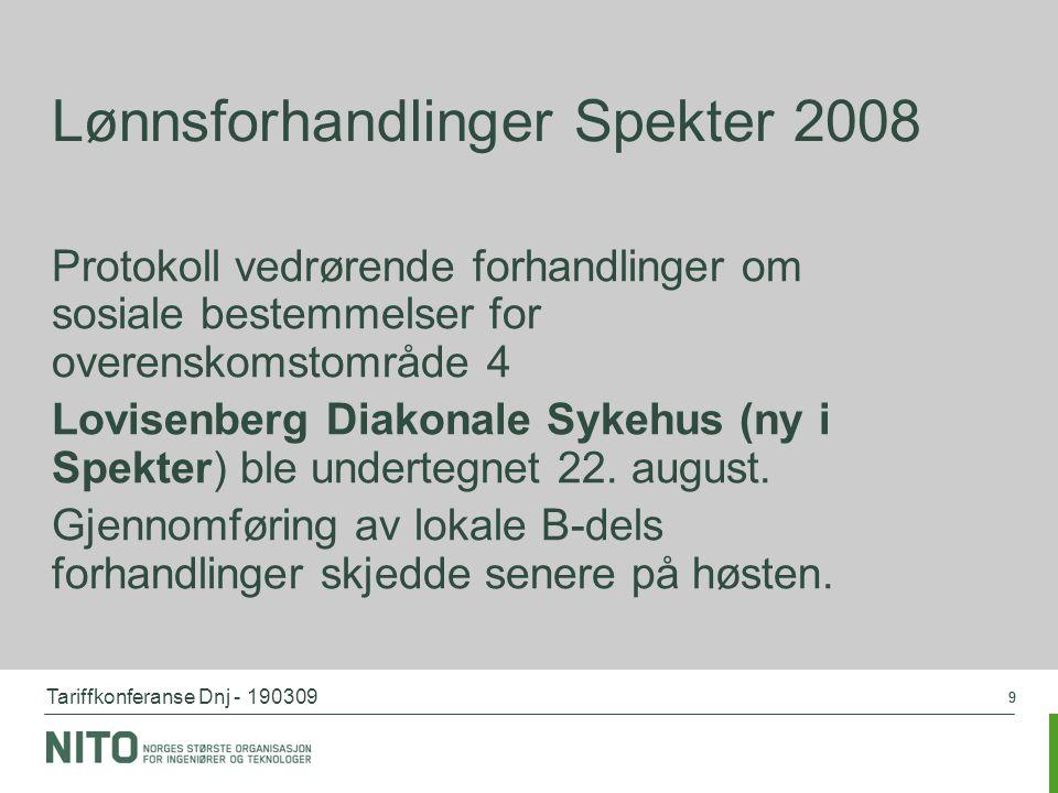 Tariffkonferanse Dnj - 190309 99 Lønnsforhandlinger Spekter 2008 Protokoll vedrørende forhandlinger om sosiale bestemmelser for overenskomstområde 4 L