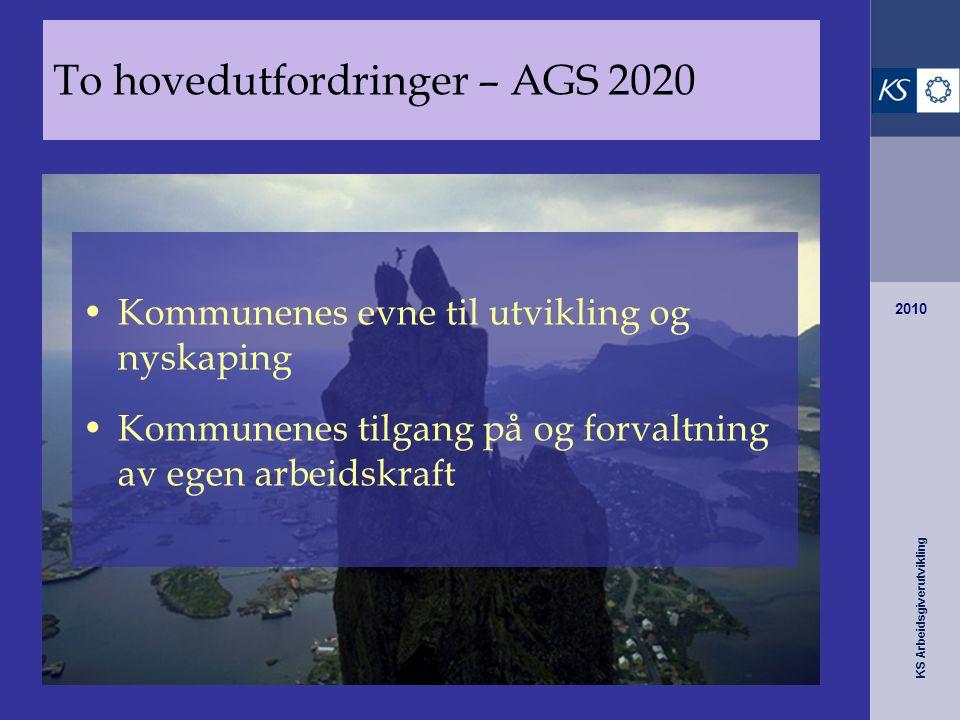 KS Arbeidsgiverutvikling 2010 Kommunenes evne til utvikling og nyskaping Kommunenes tilgang på og forvaltning av egen arbeidskraft To hovedutfordringe