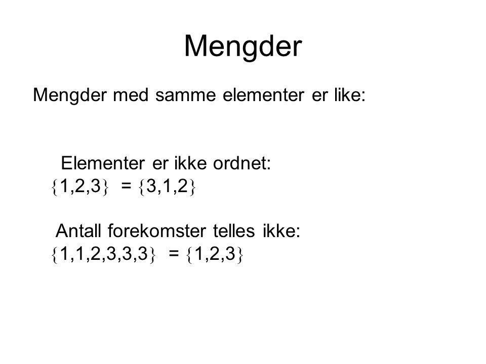 Mengder Mengder med samme elementer er like: Elementer er ikke ordnet:  1,2,3  =  3,1,2  Antall forekomster telles ikke:  1,1,2,3,3,3  =  1,2,3