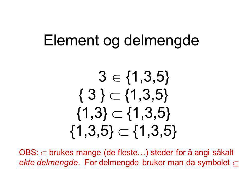 Element og delmengde 3  {1,3,5} { 3 }  {1,3,5} {1,3}  {1,3,5} {1,3,5}  {1,3,5} OBS:  brukes mange (de fleste…) steder for å angi såkalt ekte delm