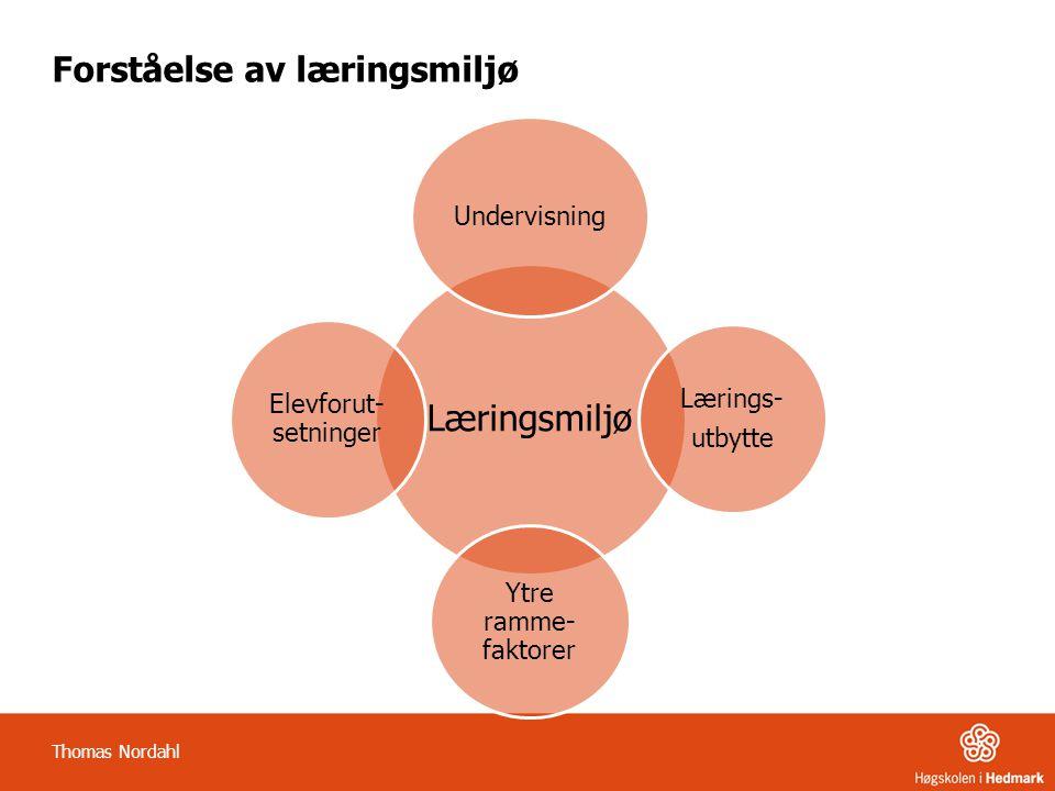 Forståelse av læringsmiljø Thomas Nordahl Læringsmiljø Undervisning Lærings- utbytte Ytre ramme- faktorer Elevforut- setninger