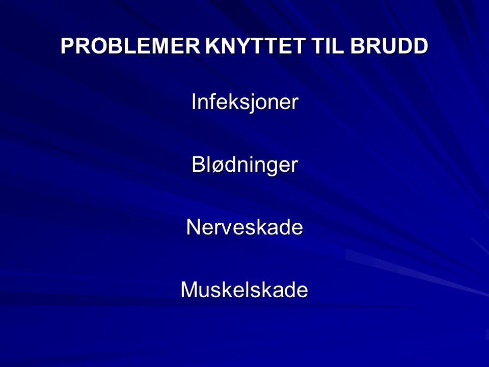 PROBLEMER KNYTTET TIL BRUDD InfeksjonerBlødningerNerveskadeMuskelskade