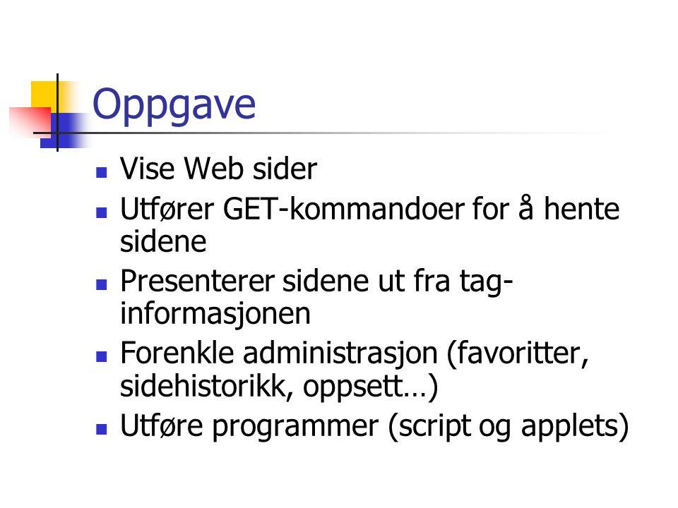 Oppgave Vise Web sider Utfører GET-kommandoer for å hente sidene Presenterer sidene ut fra tag- informasjonen Forenkle administrasjon (favoritter, sidehistorikk, oppsett…) Utføre programmer (script og applets)