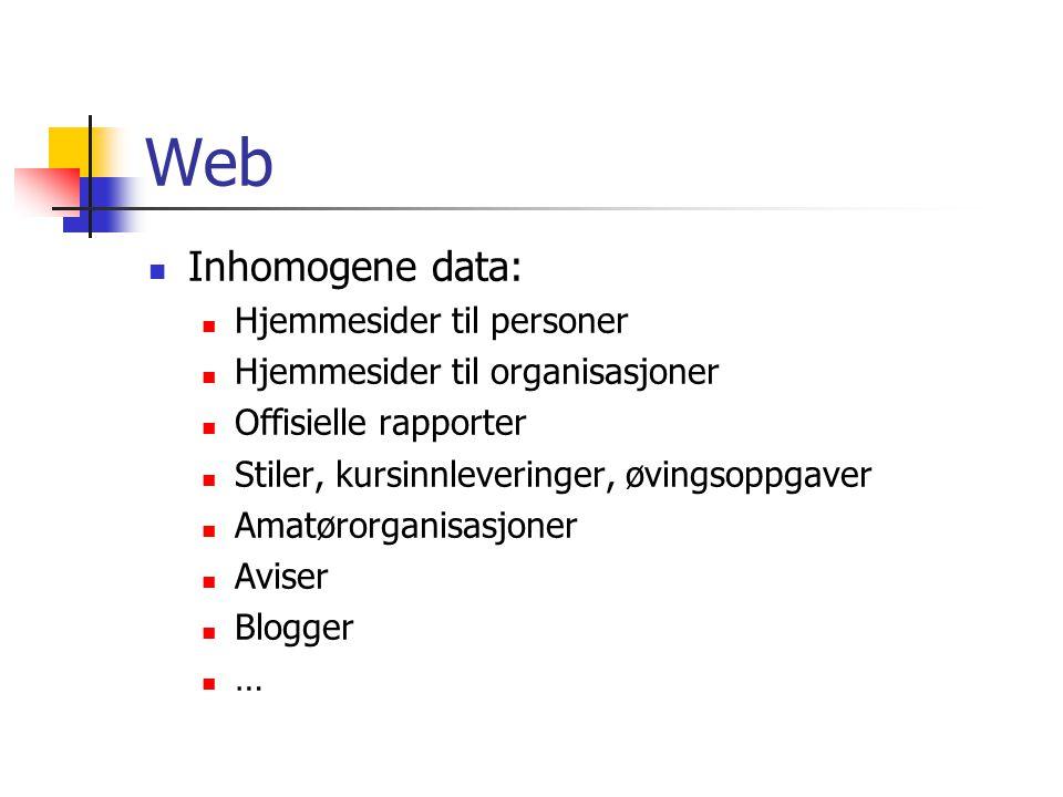 Web Inhomogene data: Hjemmesider til personer Hjemmesider til organisasjoner Offisielle rapporter Stiler, kursinnleveringer, øvingsoppgaver Amatørorganisasjoner Aviser Blogger …
