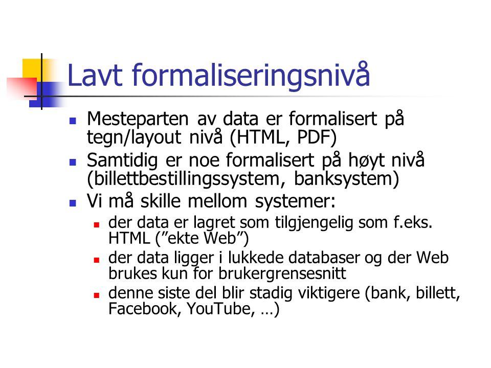 Lavt formaliseringsnivå Mesteparten av data er formalisert på tegn/layout nivå (HTML, PDF) Samtidig er noe formalisert på høyt nivå (billettbestillingssystem, banksystem) Vi må skille mellom systemer: der data er lagret som tilgjengelig som f.eks.