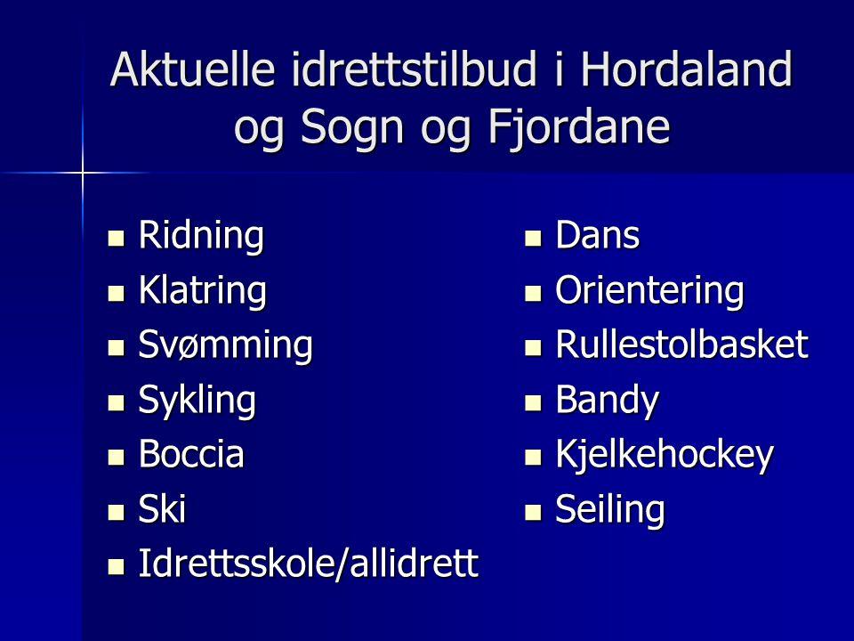 Aktuelle idrettstilbud i Hordaland og Sogn og Fjordane Ridning Ridning Klatring Klatring Svømming Svømming Sykling Sykling Boccia Boccia Ski Ski Idret
