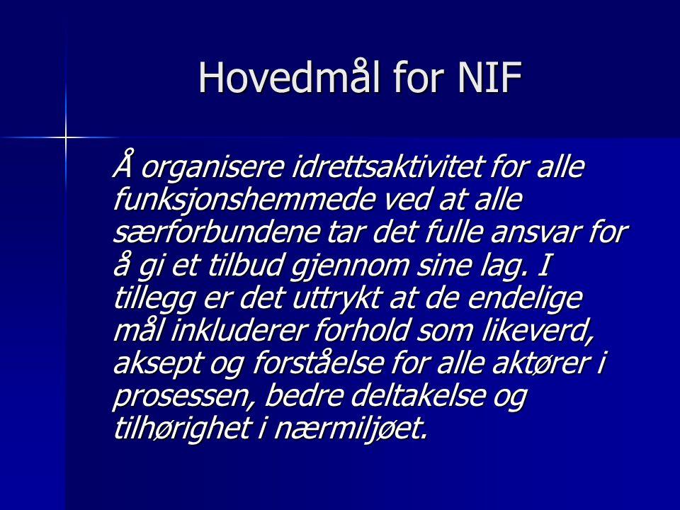 Hovedmål for NIF Å organisere idrettsaktivitet for alle funksjonshemmede ved at alle særforbundene tar det fulle ansvar for å gi et tilbud gjennom sine lag.
