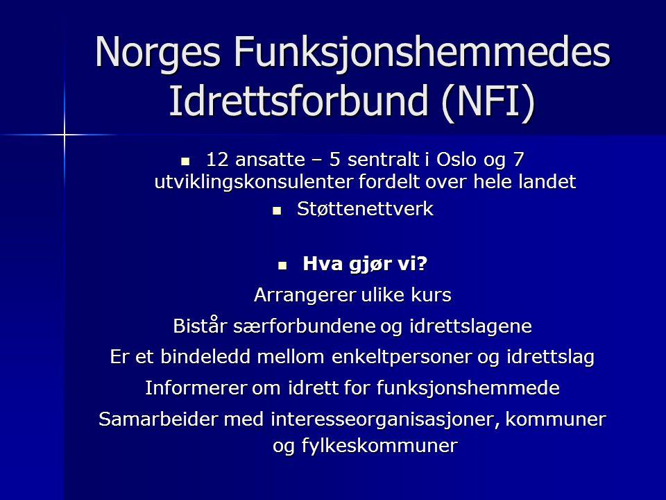 Norges Funksjonshemmedes Idrettsforbund (NFI) 12 ansatte – 5 sentralt i Oslo og 7 utviklingskonsulenter fordelt over hele landet 12 ansatte – 5 sentralt i Oslo og 7 utviklingskonsulenter fordelt over hele landet Støttenettverk Støttenettverk Hva gjør vi.