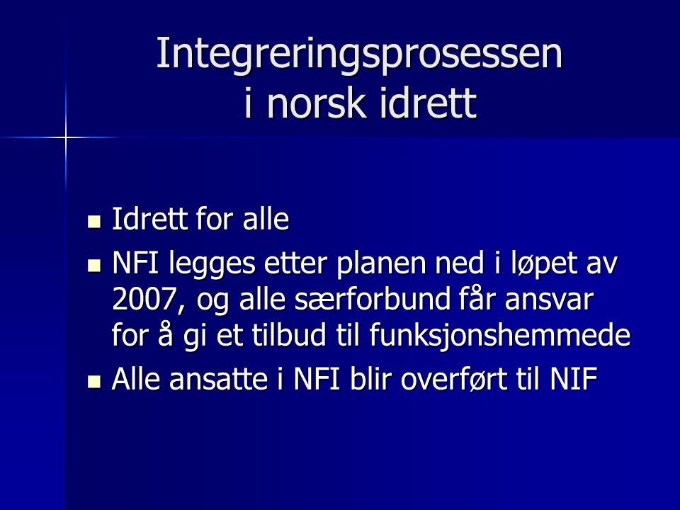 Integreringsprosessen i norsk idrett Idrett for alle Idrett for alle NFI legges etter planen ned i løpet av 2007, og alle særforbund får ansvar for å