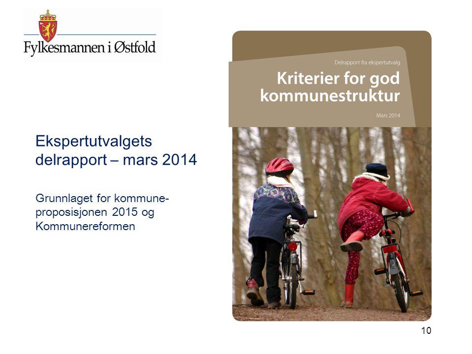 10 Ekspertutvalgets delrapport – mars 2014 Grunnlaget for kommune- proposisjonen 2015 og Kommunereformen