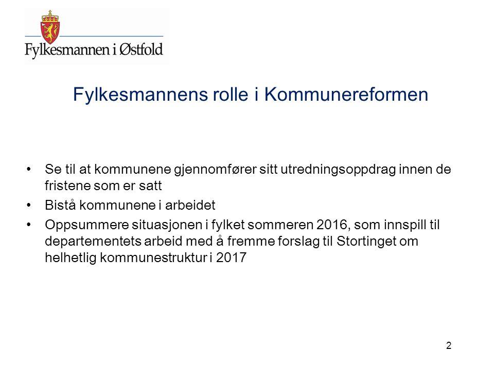 Fylkesmannens rolle i Kommunereformen Se til at kommunene gjennomfører sitt utredningsoppdrag innen de fristene som er satt Bistå kommunene i arbeidet