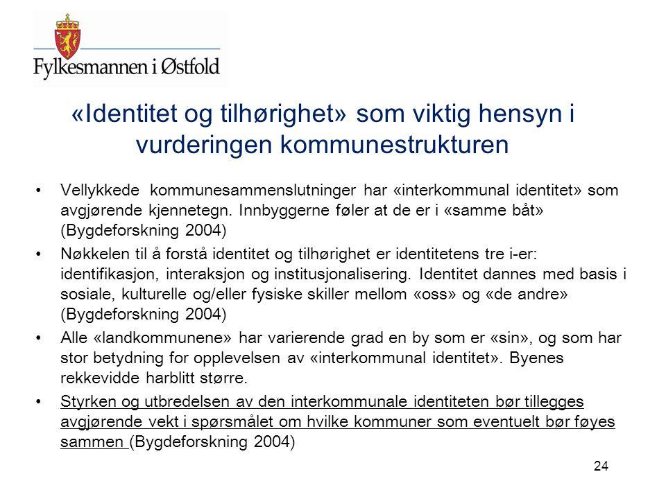 «Identitet og tilhørighet» som viktig hensyn i vurderingen kommunestrukturen Vellykkede kommunesammenslutninger har «interkommunal identitet» som avgj