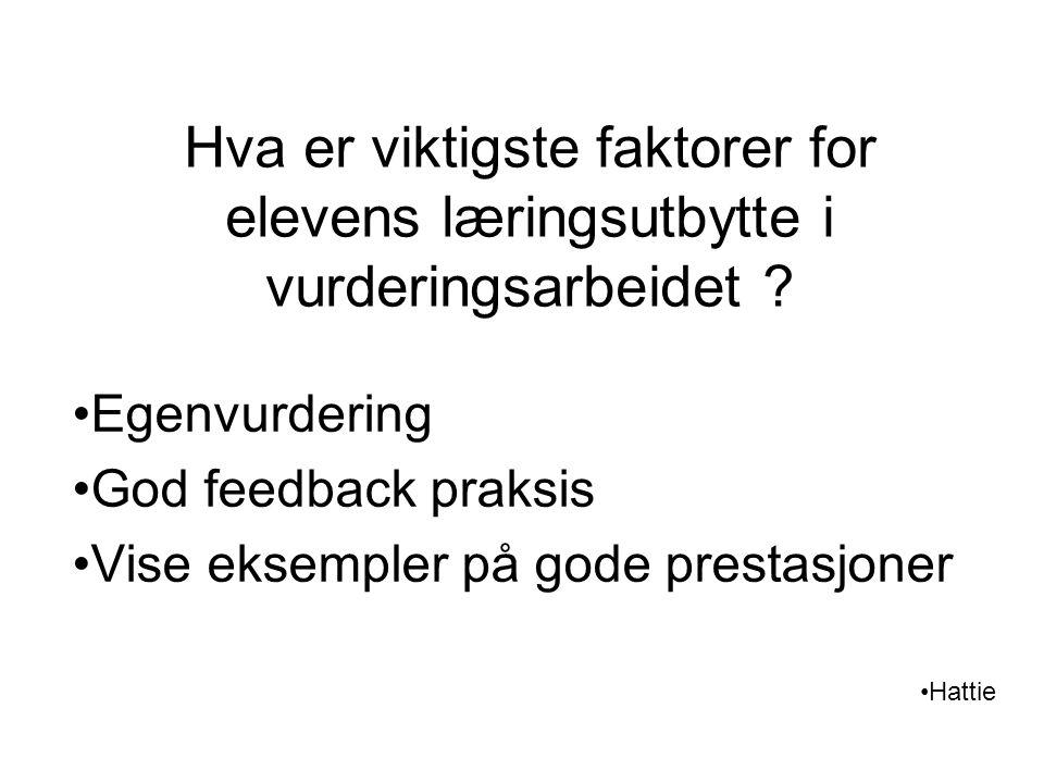 Hva er viktigste faktorer for elevens læringsutbytte i vurderingsarbeidet ? Egenvurdering God feedback praksis Vise eksempler på gode prestasjoner Hat