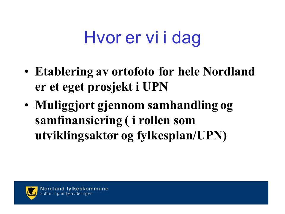 Etablering av ortofoto for hele Nordland er et eget prosjekt i UPN Muliggjort gjennom samhandling og samfinansiering ( i rollen som utviklingsaktør og fylkesplan/UPN) Hvor er vi i dag