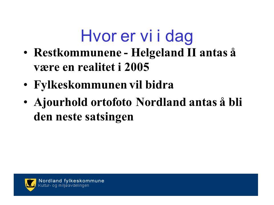 Restkommunene - Helgeland II antas å være en realitet i 2005 Fylkeskommunen vil bidra Ajourhold ortofoto Nordland antas å bli den neste satsingen Hvor er vi i dag