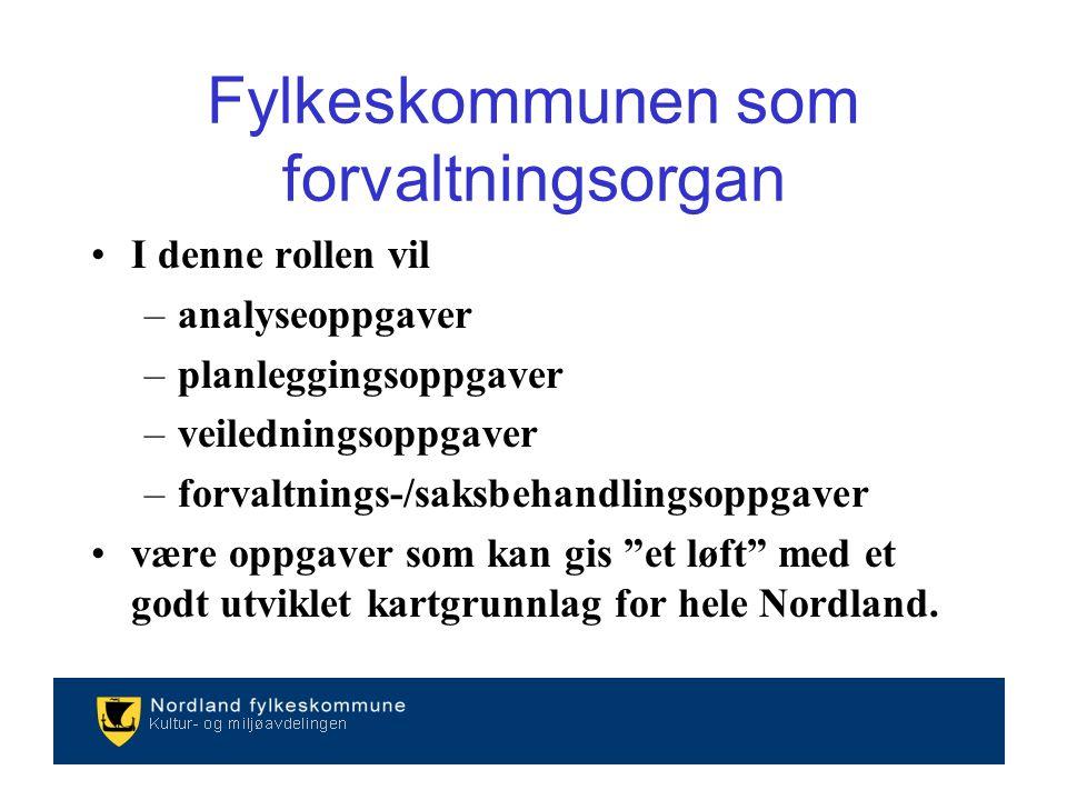 I denne rollen vil –analyseoppgaver –planleggingsoppgaver –veiledningsoppgaver –forvaltnings-/saksbehandlingsoppgaver være oppgaver som kan gis et løft med et godt utviklet kartgrunnlag for hele Nordland.