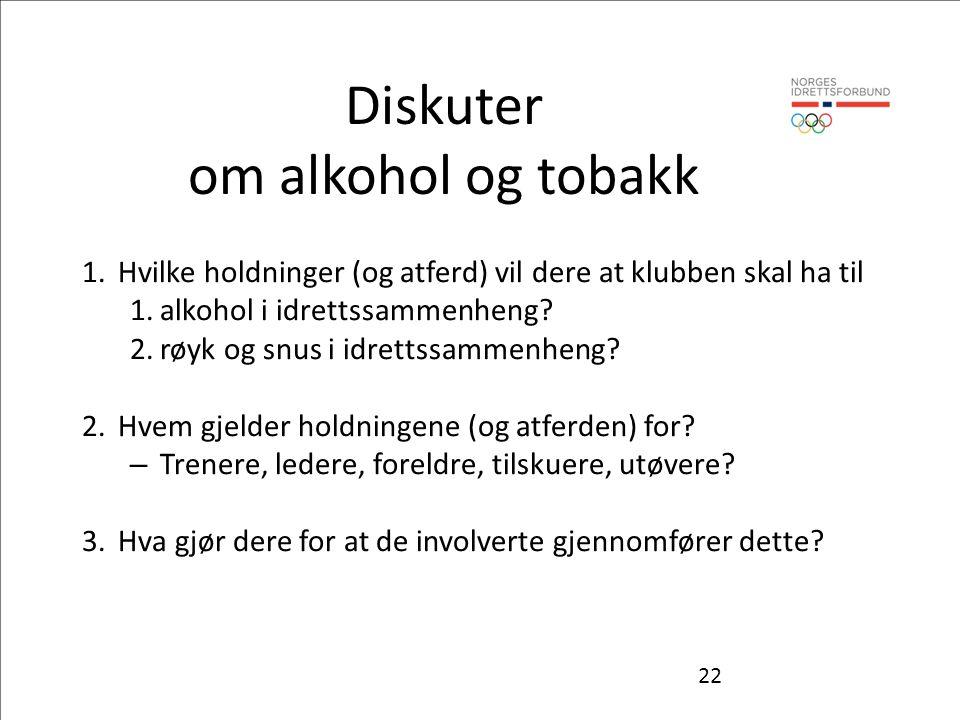 Diskuter om alkohol og tobakk 1.Hvilke holdninger (og atferd) vil dere at klubben skal ha til 1.alkohol i idrettssammenheng? 2.røyk og snus i idrettss