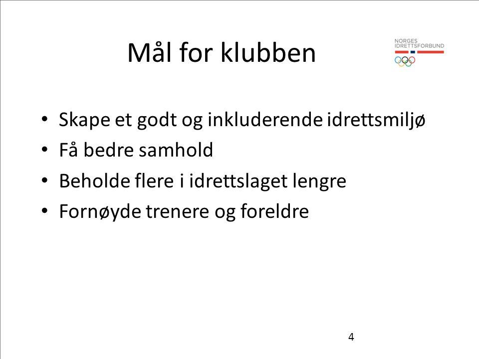 Mål for klubben Skape et godt og inkluderende idrettsmiljø Få bedre samhold Beholde flere i idrettslaget lengre Fornøyde trenere og foreldre 4