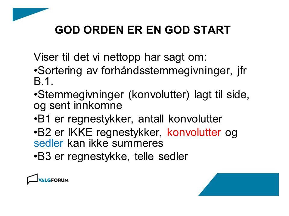 GOD ORDEN ER EN GOD START Viser til det vi nettopp har sagt om: Sortering av forhåndsstemmegivninger, jfr B.1.