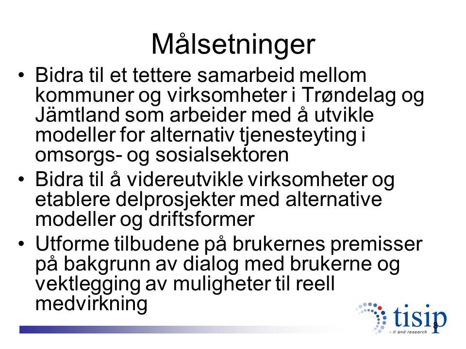 8 Målsetninger Bidra til et tettere samarbeid mellom kommuner og virksomheter i Trøndelag og Jämtland som arbeider med å utvikle modeller for alternativ tjenesteyting i omsorgs- og sosialsektoren Bidra til å videreutvikle virksomheter og etablere delprosjekter med alternative modeller og driftsformer Utforme tilbudene på brukernes premisser på bakgrunn av dialog med brukerne og vektlegging av muligheter til reell medvirkning