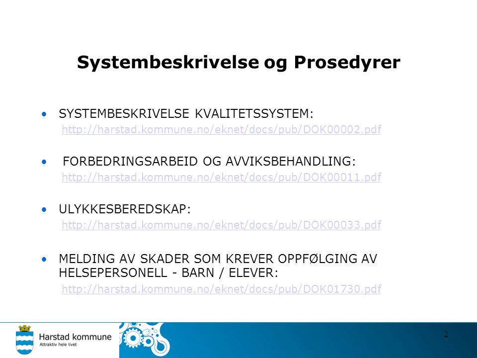 Systembeskrivelse og Prosedyrer SYSTEMBESKRIVELSE KVALITETSSYSTEM: http://harstad.kommune.no/eknet/docs/pub/DOK00002.pdf FORBEDRINGSARBEID OG AVVIKSBEHANDLING: http://harstad.kommune.no/eknet/docs/pub/DOK00011.pdf ULYKKESBEREDSKAP: http://harstad.kommune.no/eknet/docs/pub/DOK00033.pdf MELDING AV SKADER SOM KREVER OPPFØLGING AV HELSEPERSONELL - BARN / ELEVER: http://harstad.kommune.no/eknet/docs/pub/DOK01730.pdf 2