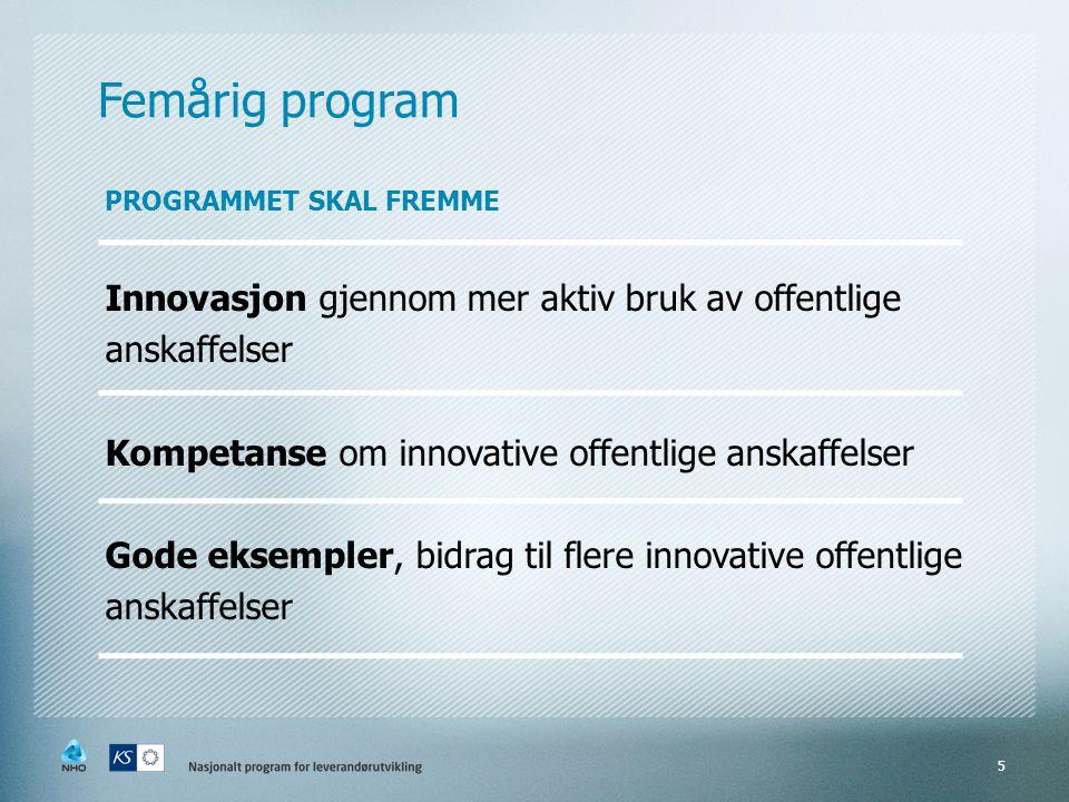 Femårig program PROGRAMMET SKAL FREMME Innovasjon gjennom mer aktiv bruk av offentlige anskaffelser Kompetanse om innovative offentlige anskaffelser Gode eksempler, bidrag til flere innovative offentlige anskaffelser 5
