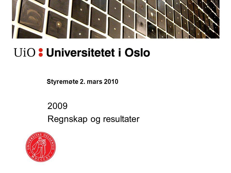Styremøte 2. mars 2010 2009 Regnskap og resultater