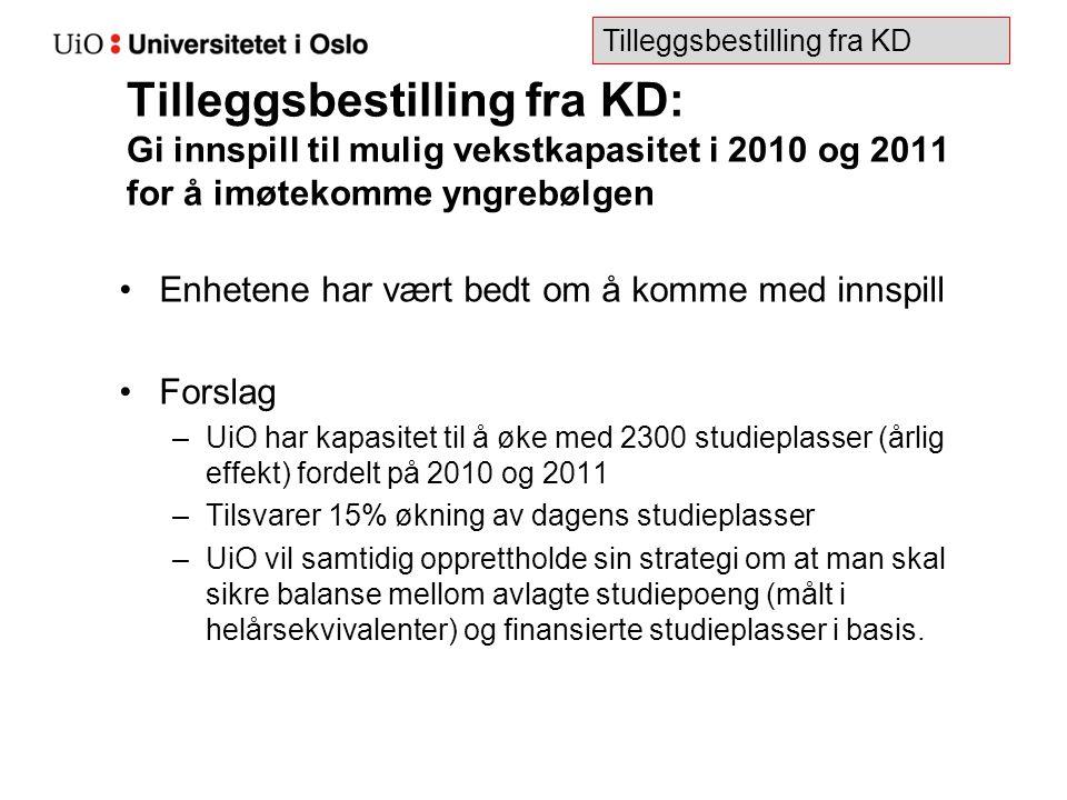 Tilleggsbestilling fra KD: Gi innspill til mulig vekstkapasitet i 2010 og 2011 for å imøtekomme yngrebølgen Enhetene har vært bedt om å komme med inns